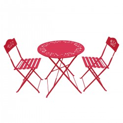 Red Metal Bistro Set with Two Chairs