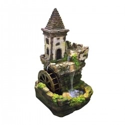 "35"" Castle Fairy Garden Fountain"