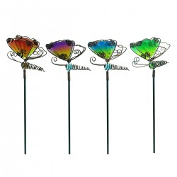 "15"" Glass Butterfly w/ Bouncing Wings Planter Stake"
