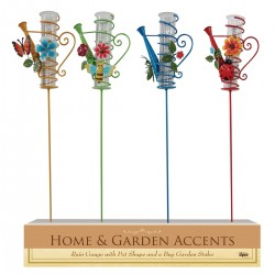 "39"" Metal Watering Can with Rain Gauge Garden Stake"