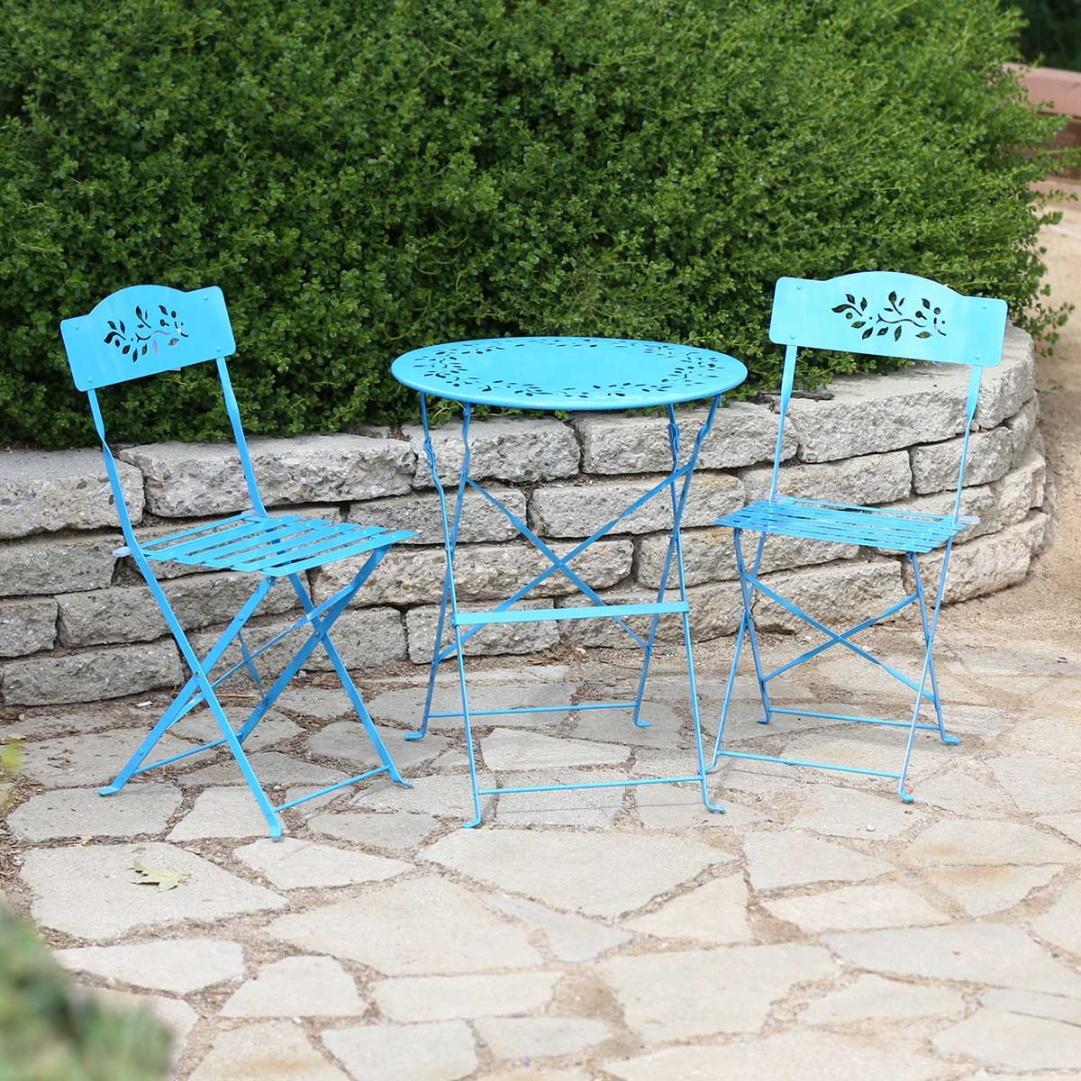 Blue Metal Bistro Set Table And Two Chairs