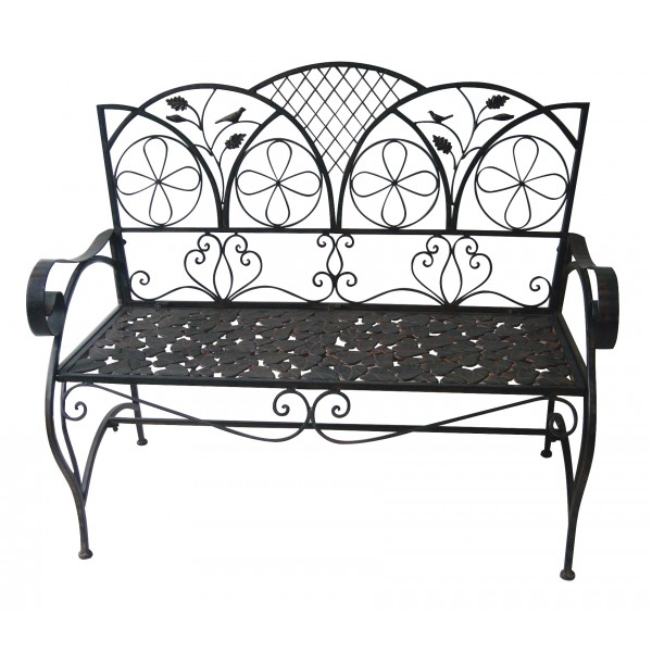 Iron Brown Bench with Leaf Pattern