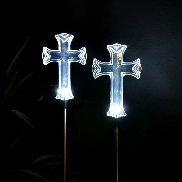 Solar Cross Garden Stake - Display of 16