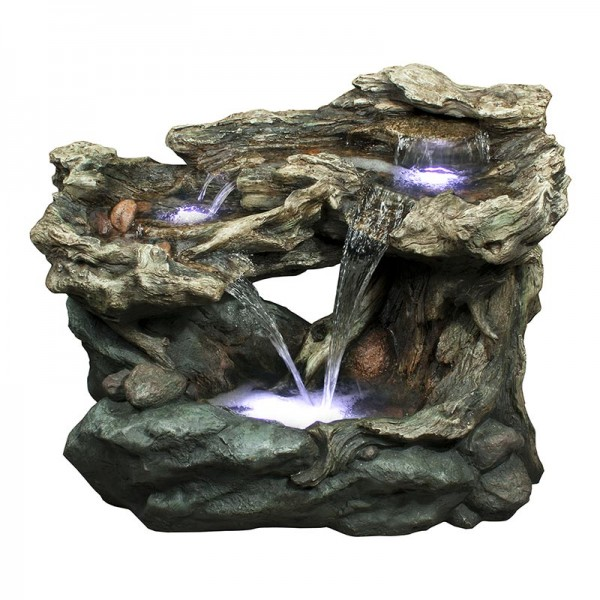 "30"" 3-Tier Rainforest Cascading Fountain with LED Lights"