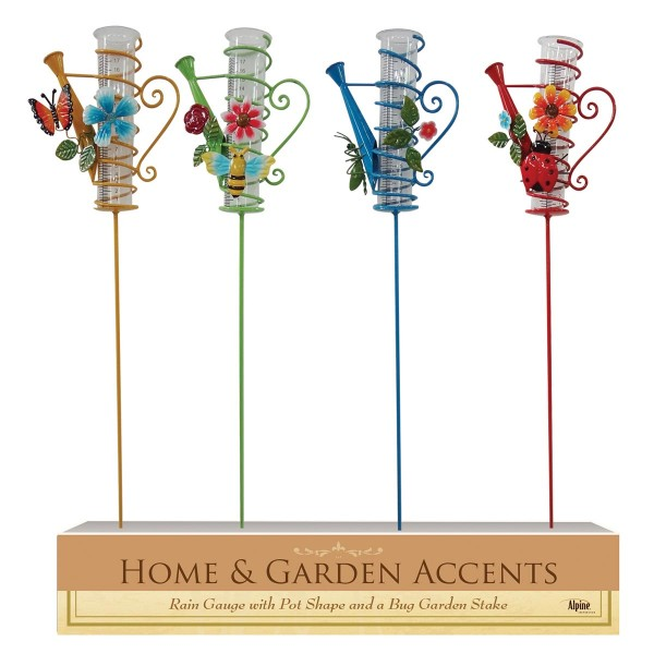 "39"" Watering Can Rain Gauge Garden Stake - Asstd. Display of 16"