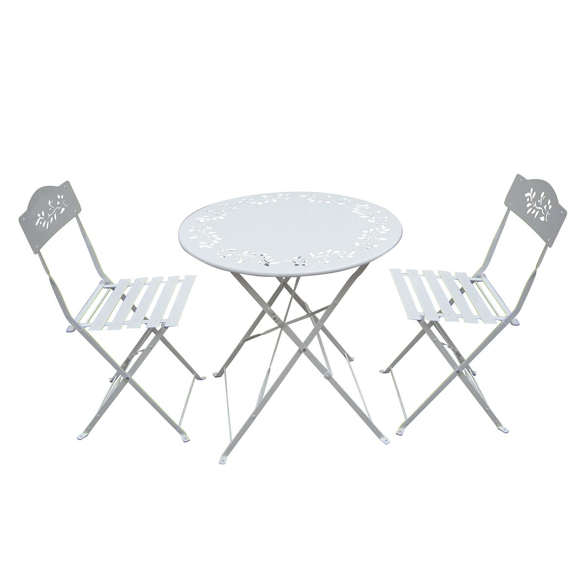 White Metal Bistro Set Table And Two Chairs