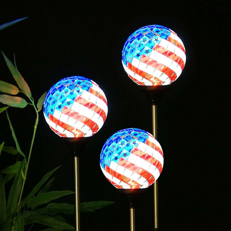 "33"" Solar Americana Mosaic Glass Globe Stake - Tray Pack of 9"