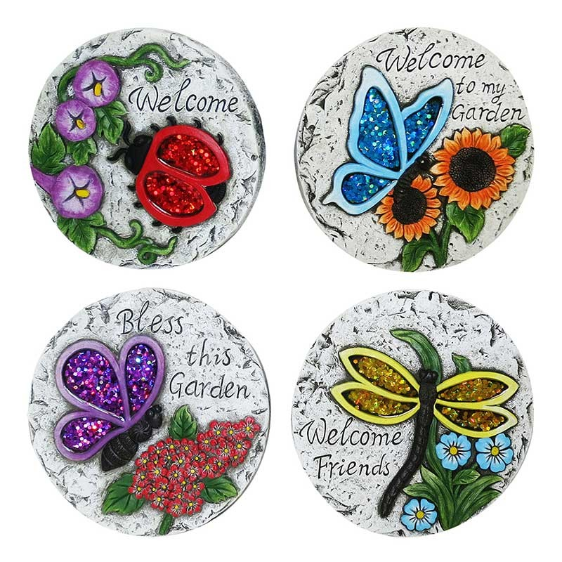 """8"""" Welcome Insect Stepping Stones - Asstd. Tray Pack of 8"""