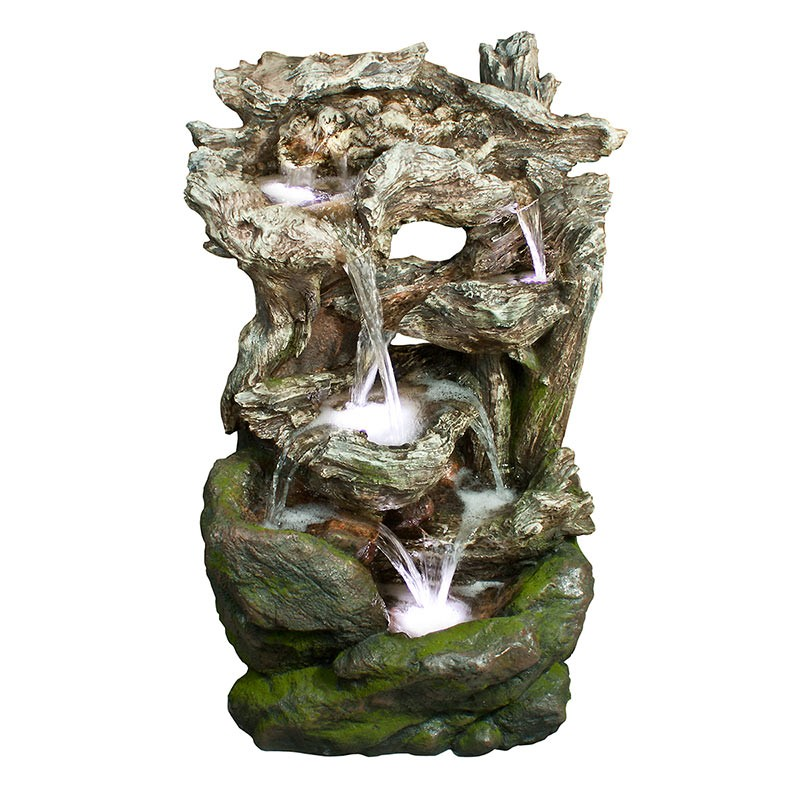 """40"""" 6-Tiered Rainforest Waterfall Fountain with LED Lights"""