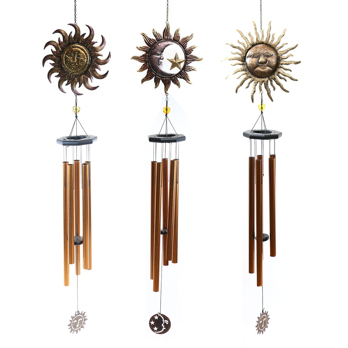 Metal Sun and Moon Windchimes