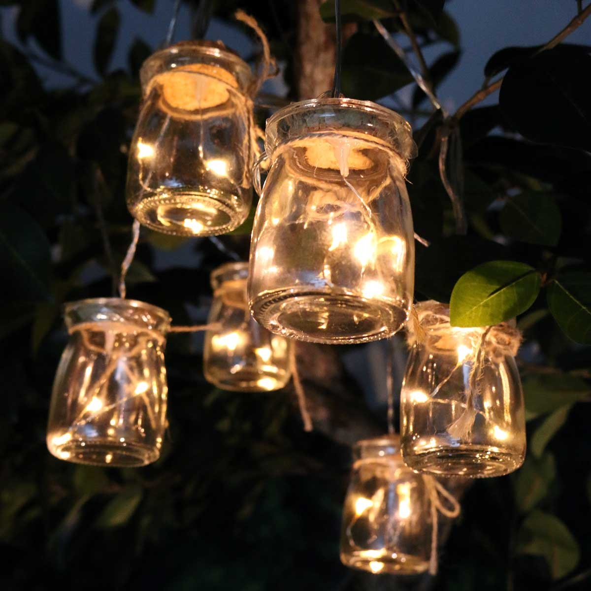 Clear Glass Jar Light Decor W/3 LED Lights