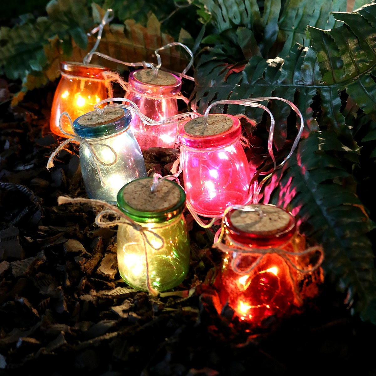 Multi Color Glass Jar Light Decor w/3 LED Lights - Set of 6