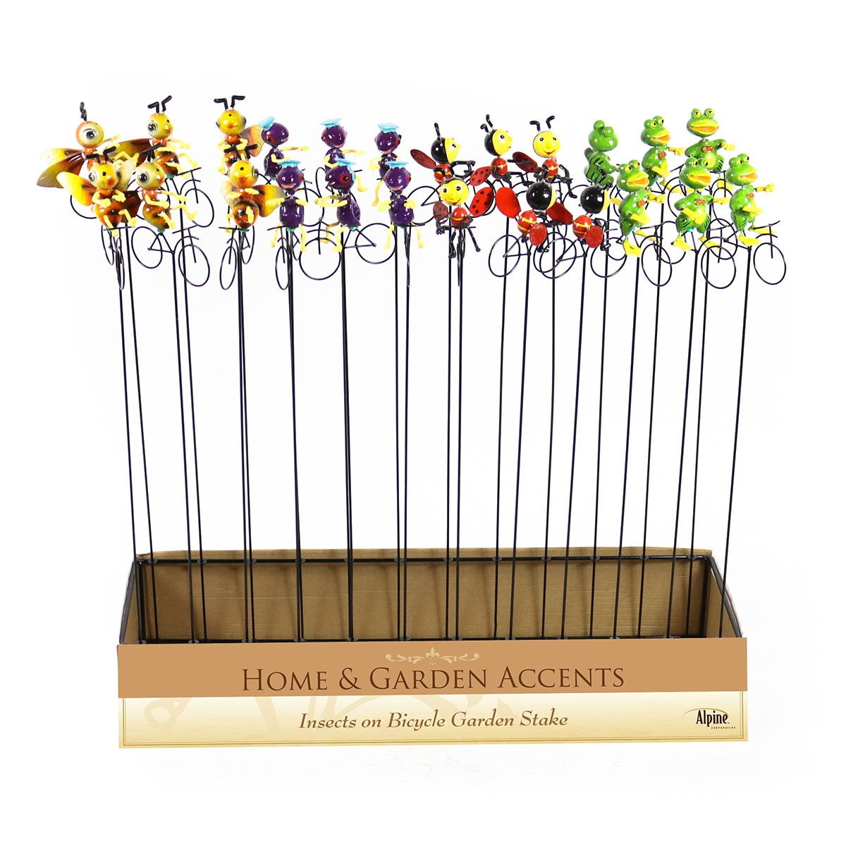 Insects on Bicycle Garden Stake - Assorted Display of 24