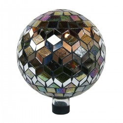 "10"" Silver and Animal Print Mosaic Gazing Globe"