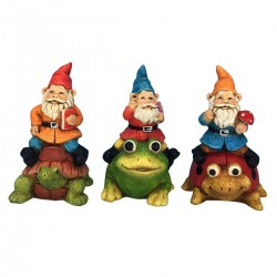 "6"" Gnomes Riding Animals Statuary - Asstd. Tray of 9"