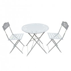 White Metal Bistro Set with Two Chairs