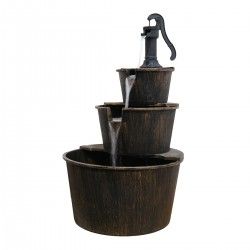 "40"" Three Tier Pump & Barrels Fountain - Brown"