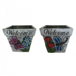 "6"" 'Welcome' Insect Decorative Planter - Asstd. Pack of 4"