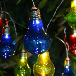 Edison Bulb String Lights w/10 LED Light Bulbs - MultiColor