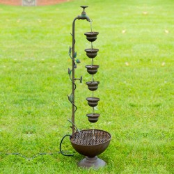 "38"" Hanging 6-Cup Tiered Floor Fountain"