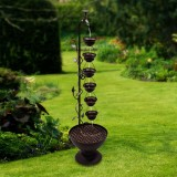 """38"""" Hanging 6-Cup Tiered Floor Fountain"""