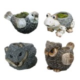 "7"" Owl, Frog, Bird, Fox Animal Planters-Assorted Pack of 4"